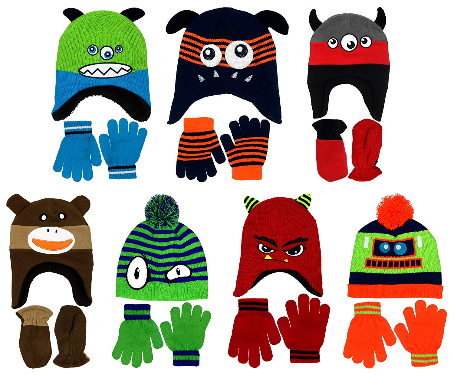 d0f77cdd17187 Get Quotations · Boy s Knit Hat   Gloves or Mittens Sets in Multiple  Designs and Colors Boys Toddlers Infant