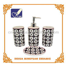 4pcs of best-selling handmade decal ceramic bathroom accessory