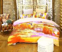 New Design Rich Color Autumn Trees Printed 100% Cotton Bedding Set