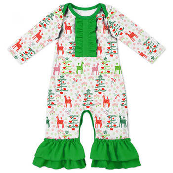 Fashion Baby Clothes Children Christmas Cotton Ruffle Romper Baby Girls First Christmas Jumpsuit Ruffle Baby Romper