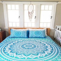 Sky blue queen size cotton mandala bedspread with 2 pillowcases