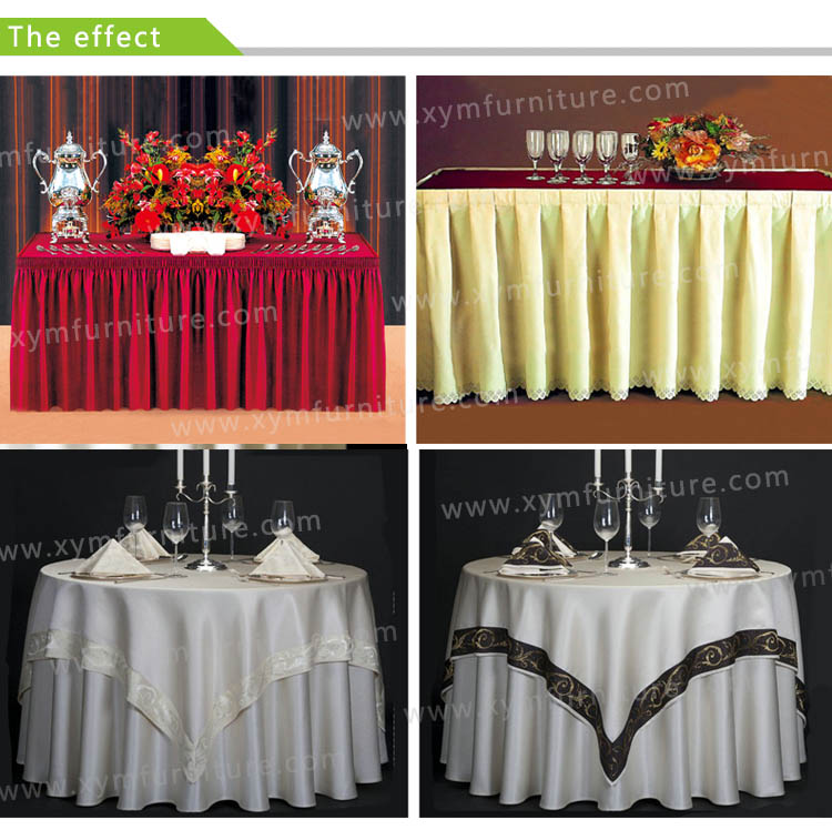 Elegant Style Ruffled Design Wedding Table Skirting For Round Square