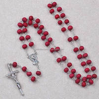 6mm round red color rose perfume wooden beads rosary