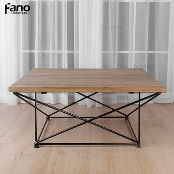 home goods coffee table italian design iron wooden geometric