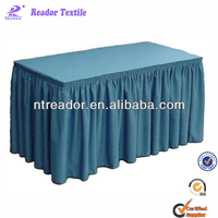 17' table skirt with pleated, polyester white 17' table skirting, table skirt