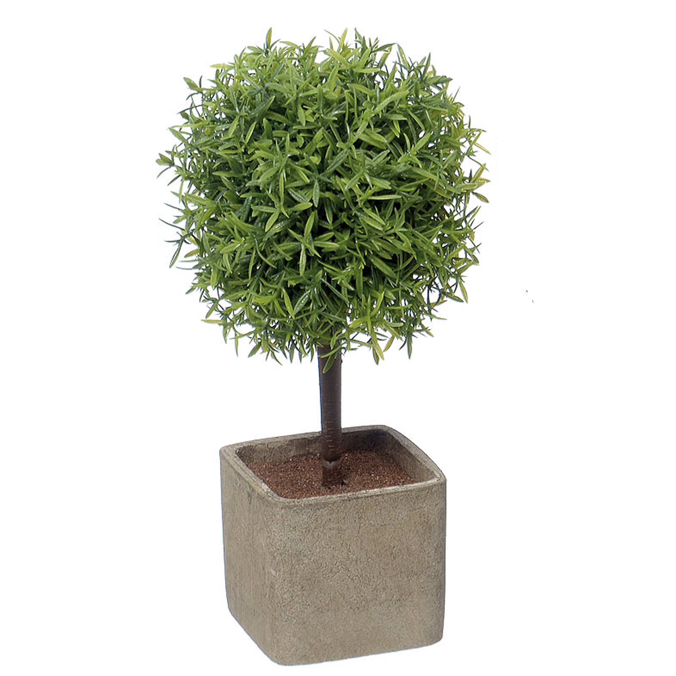 Whole House Worlds The Realistic Mini Faux Potted Grassy Ball Topiary Tree, Gray Stone Finished Planter, 10 1/4 Inches Tall, By