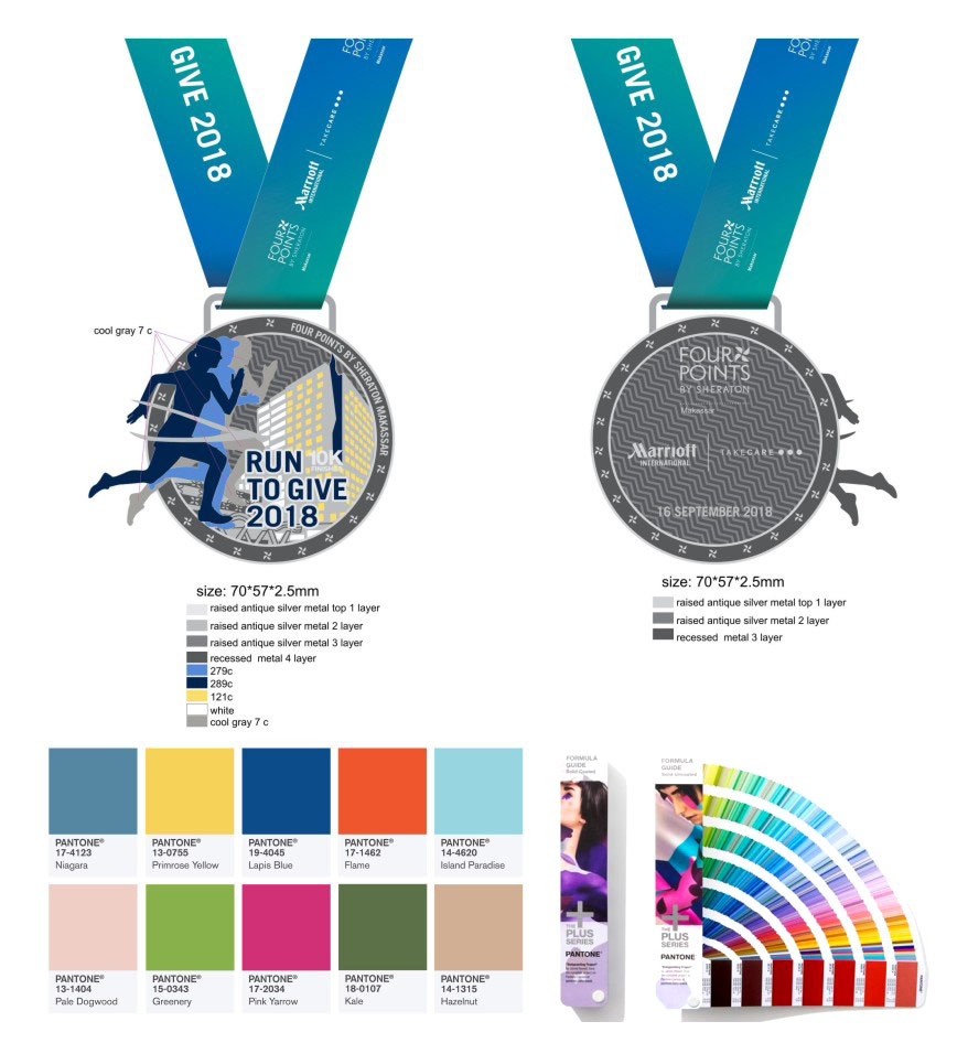 Custom made design metal sports 5k Running Antique Sliver plating medals cheap with ribbon