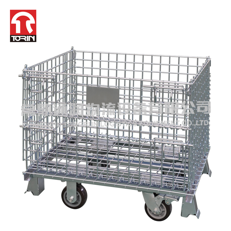 Quality Lockable Industrial Collapsible Unique Metal Wire Mesh Pallet Cage Storage