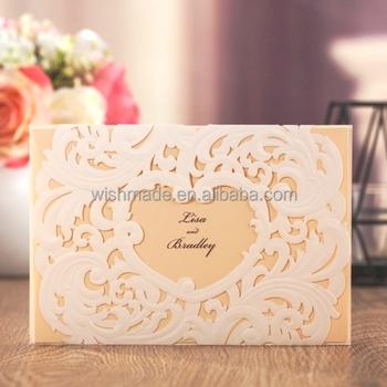 Wishmade low price white heart shaped wedding invitation card with wishmade low price white heart shaped wedding invitation card with laser cut aw7018 stopboris Images