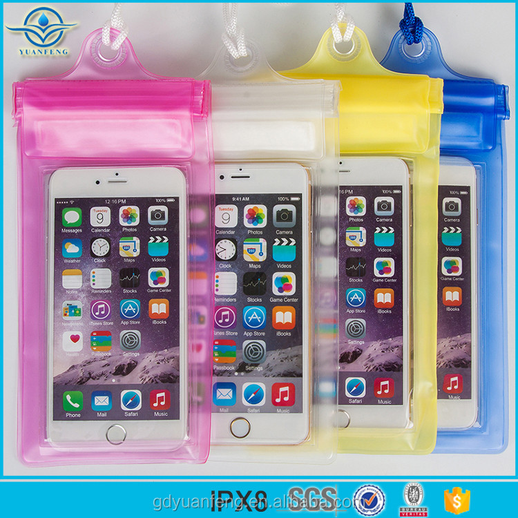 IPX8 grade new design hot selling PVC waterproof phone zipper bag for iphone 6