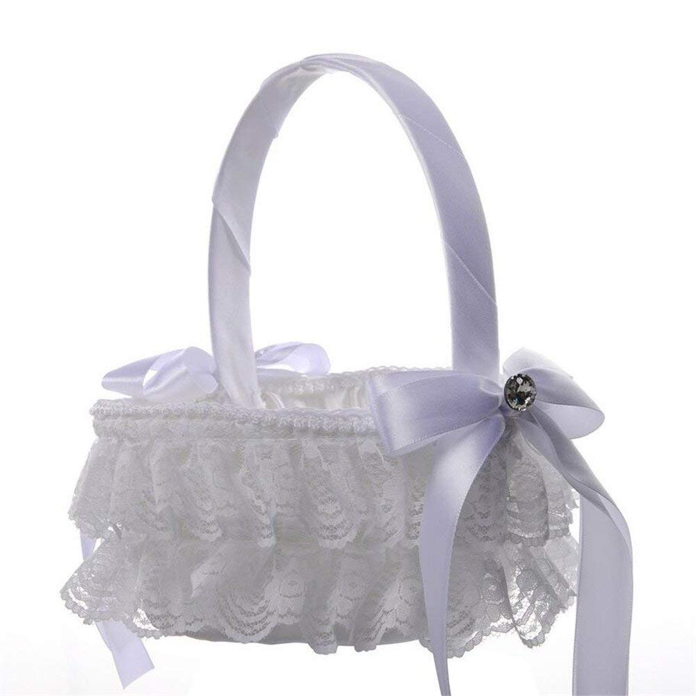 VAlink Heart Style Romantic Wedding Flower Girl Basket, Satin Bowknot Rhinestone Weave Lace Wedding Flower Basket, Marriage Props Wedding Party Home Decoration Supplies - white,18x16cm