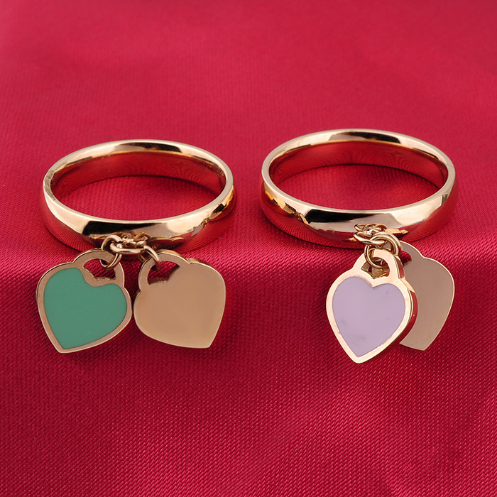 Wholesale Women Rose Gold Stainless Steel Heart Enamel Ring