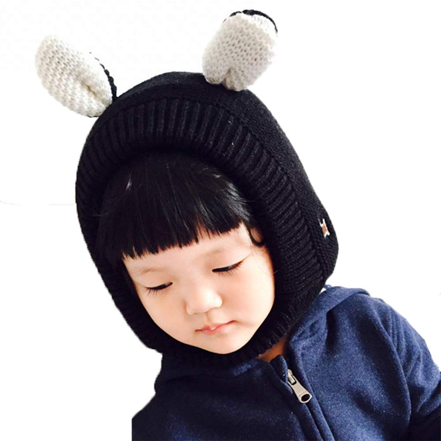 b33853f937d Get Quotations · Yehopere Kids Baby Toddler Cable Knit Hat Children¡¯s  Winter Hat Ears Beanie Caps