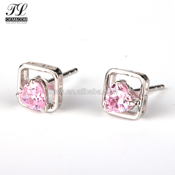 Fashion Diamond Bling Carat Solitaire Stud Earring Pink Costume Jewellery