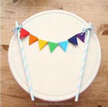 Rainbow Birthday Cake Topper Pennant Banner Bunting Set Baby Shower Celebration Party Decoration Supplies
