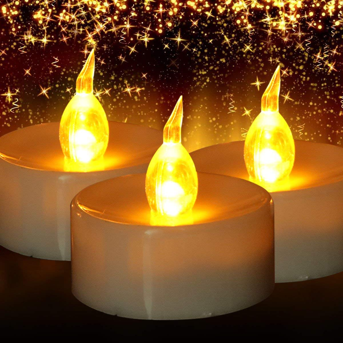 Get Quotations Tea Light Battery Operated With Timer 24 Pack Flicker Lights Flameless Candles For