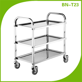 Stainless Steel Food Service Utility Trolley 3 Shelf Commercial ...
