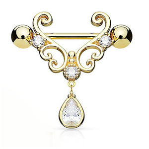 Electroplated Stainless Steel Anti-fatigue Butterfly Crystal Drop Shaped Nipple Rings Sexy Body Chain Jewelry