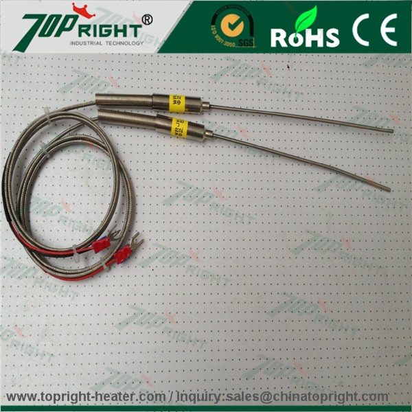 2016 TOPRIGHT different shape armored type k thermocouple with wire