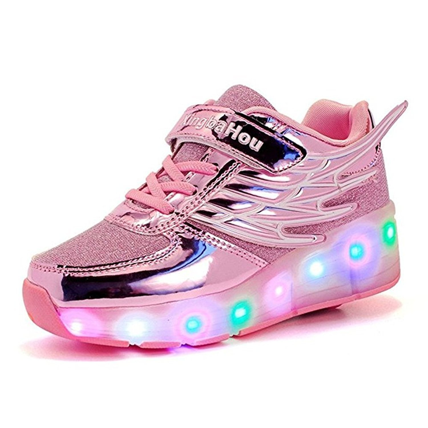 Kid Wings LED Light Up Roller Wheel Shoes Athletic Sneaker Sport Shoes Dance Boot Boy Girl ?Pink 5 M US Big Kid?