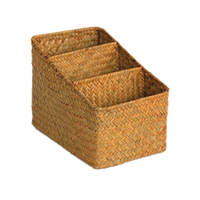 Vintage Multi-function Three Block Trapezoid Strand Woven Seagrass Straw Storage Basket Weaving Container for Wholesale