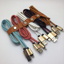 leather short data micro usb cable charger for Samsung mobile phones for iphone