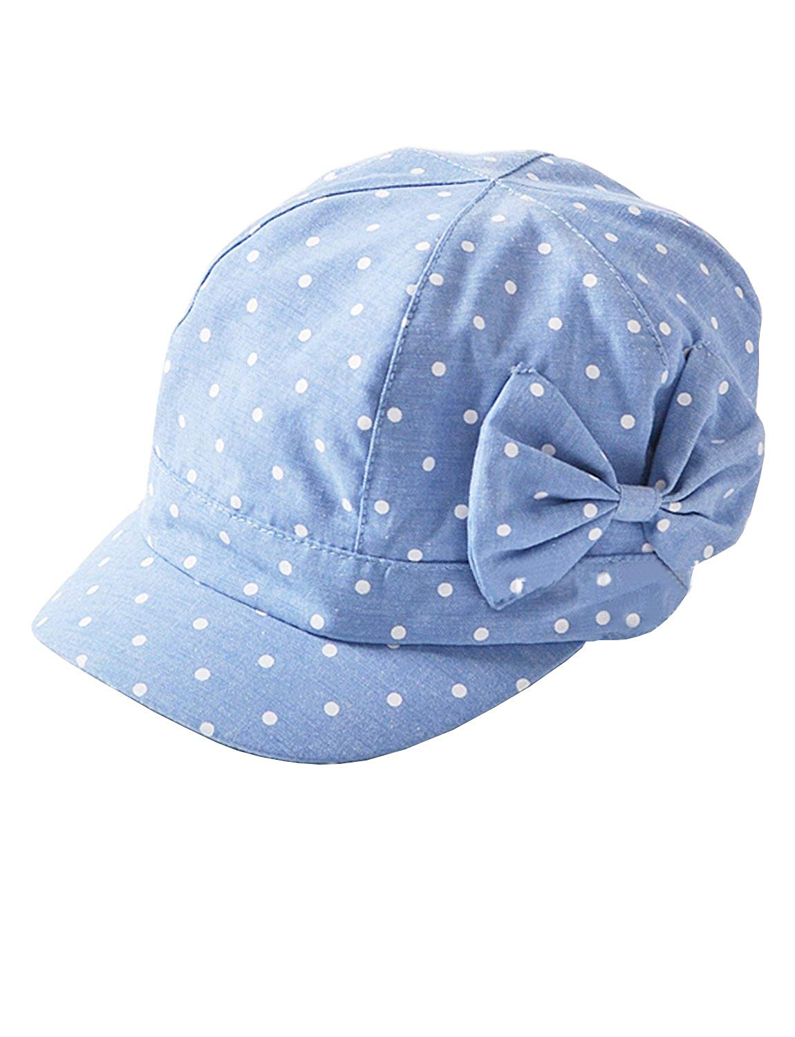 MZLIU Toddler Baby Girls Cute Polka Dot Bowknot Denim Cotton Cap Sun Hat(6m-4T)