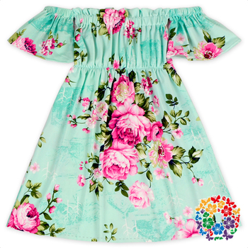 Mint color floral milk silk fabric children summer dress for Childrens dress fabric