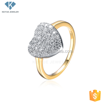 New Heart Pave Stone Design La s Gold Finger Rings Design