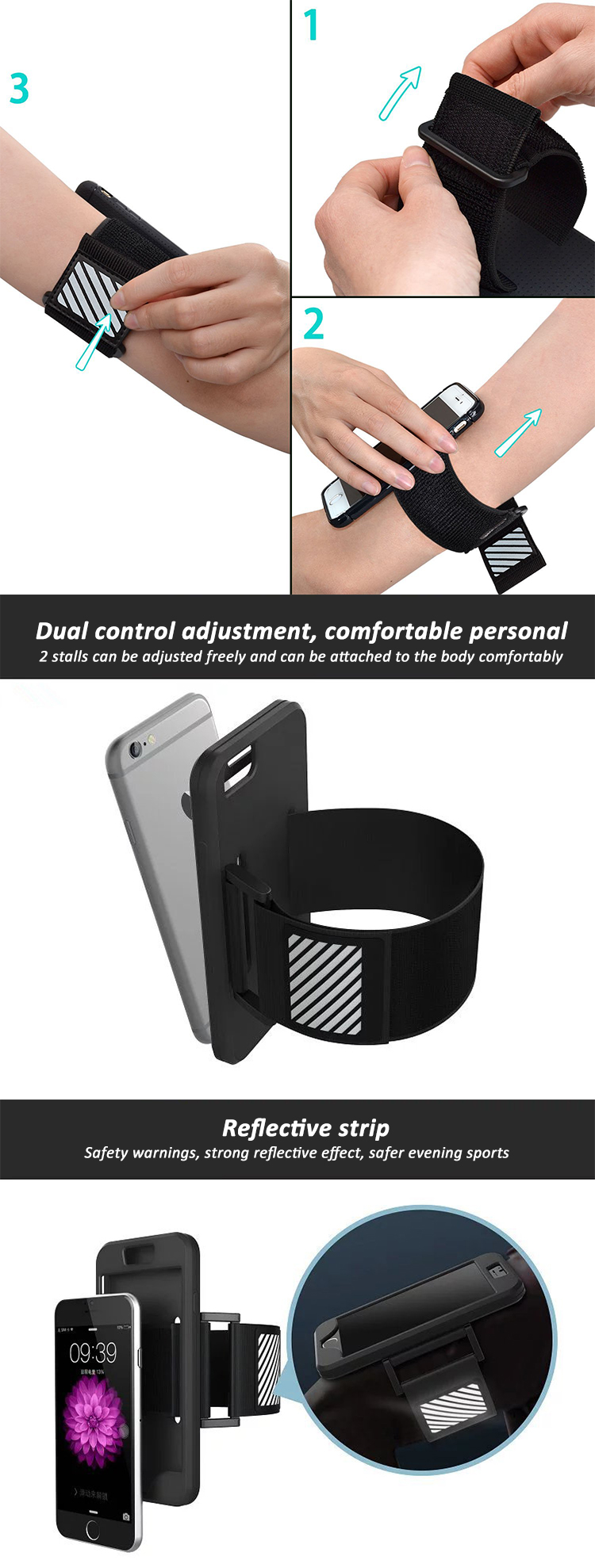 Outdoor Sport Reflective Cellphone Armband With Wristband Holder