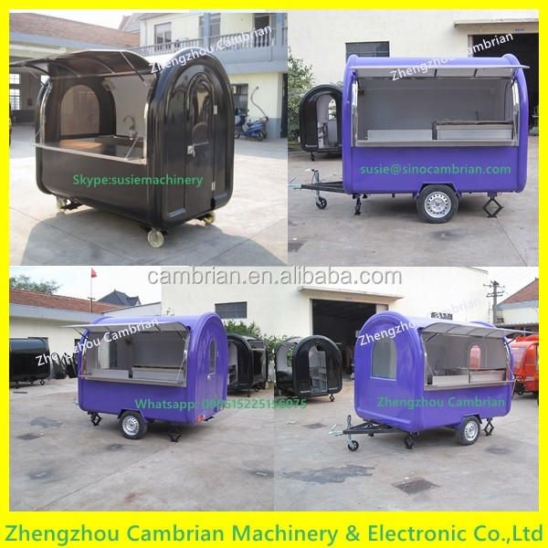 Hand push fast food kiosk carts for sale with 2 big wheels
