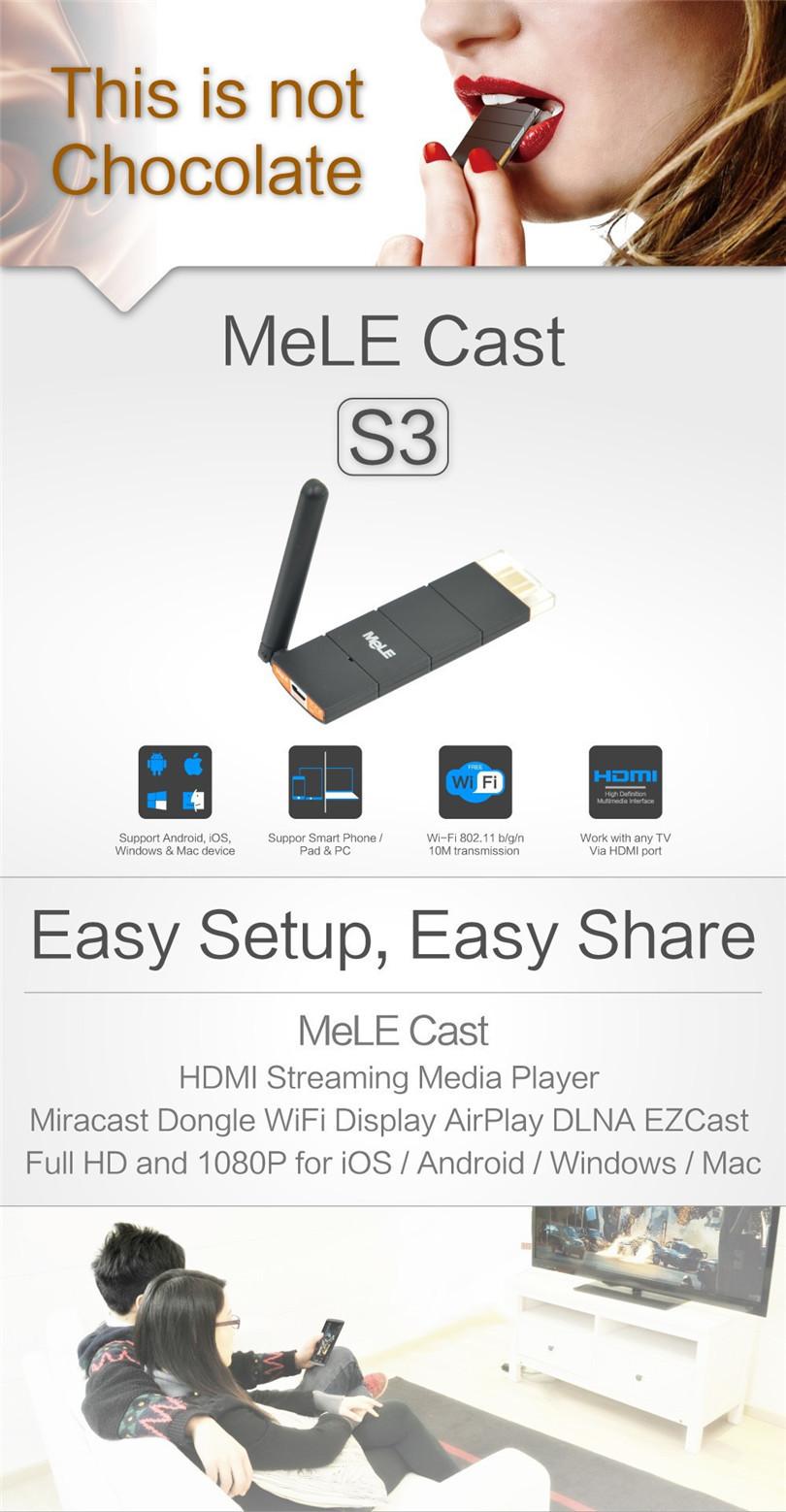 Smart TV Stick WiFi HDMI Dongle MeLE Cast S3 AirPlay EZCast