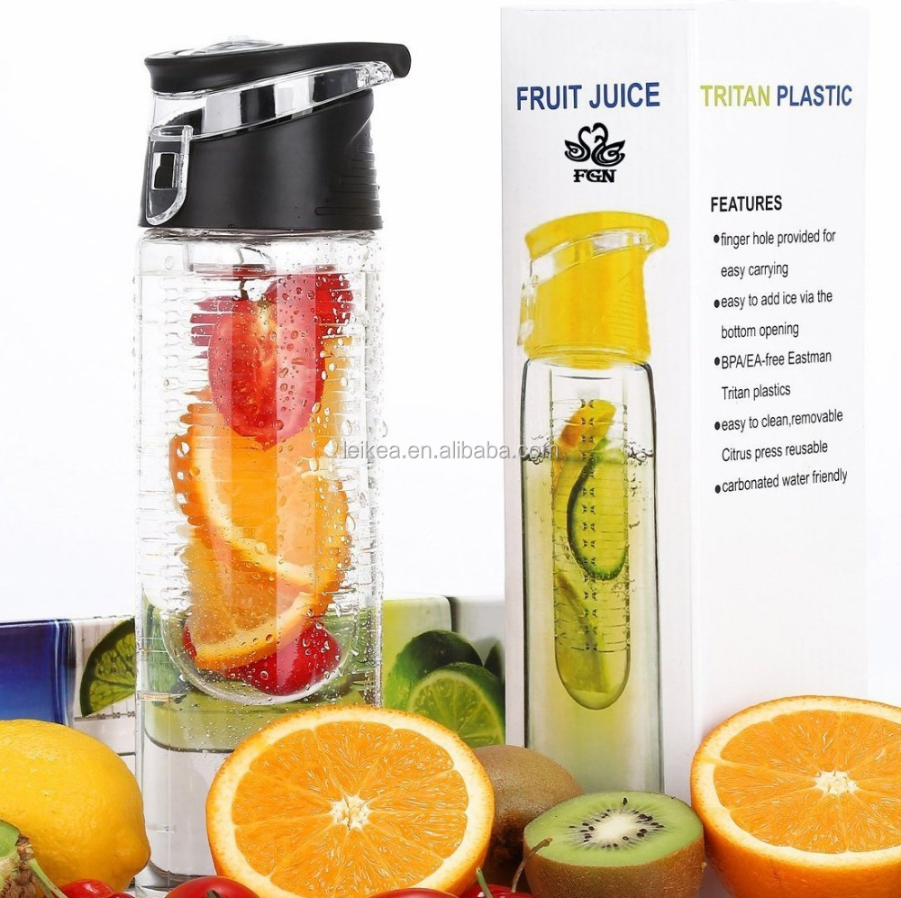 Sport Fruit Infuser Water Bottle BPA Free With Locking Flip Top Lid And Carrying Handle