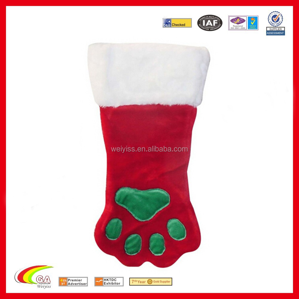 New Products 2016 Christmas stocking, Christmas decoration paw stocking, Christmas gift stocking alibaba wholesales