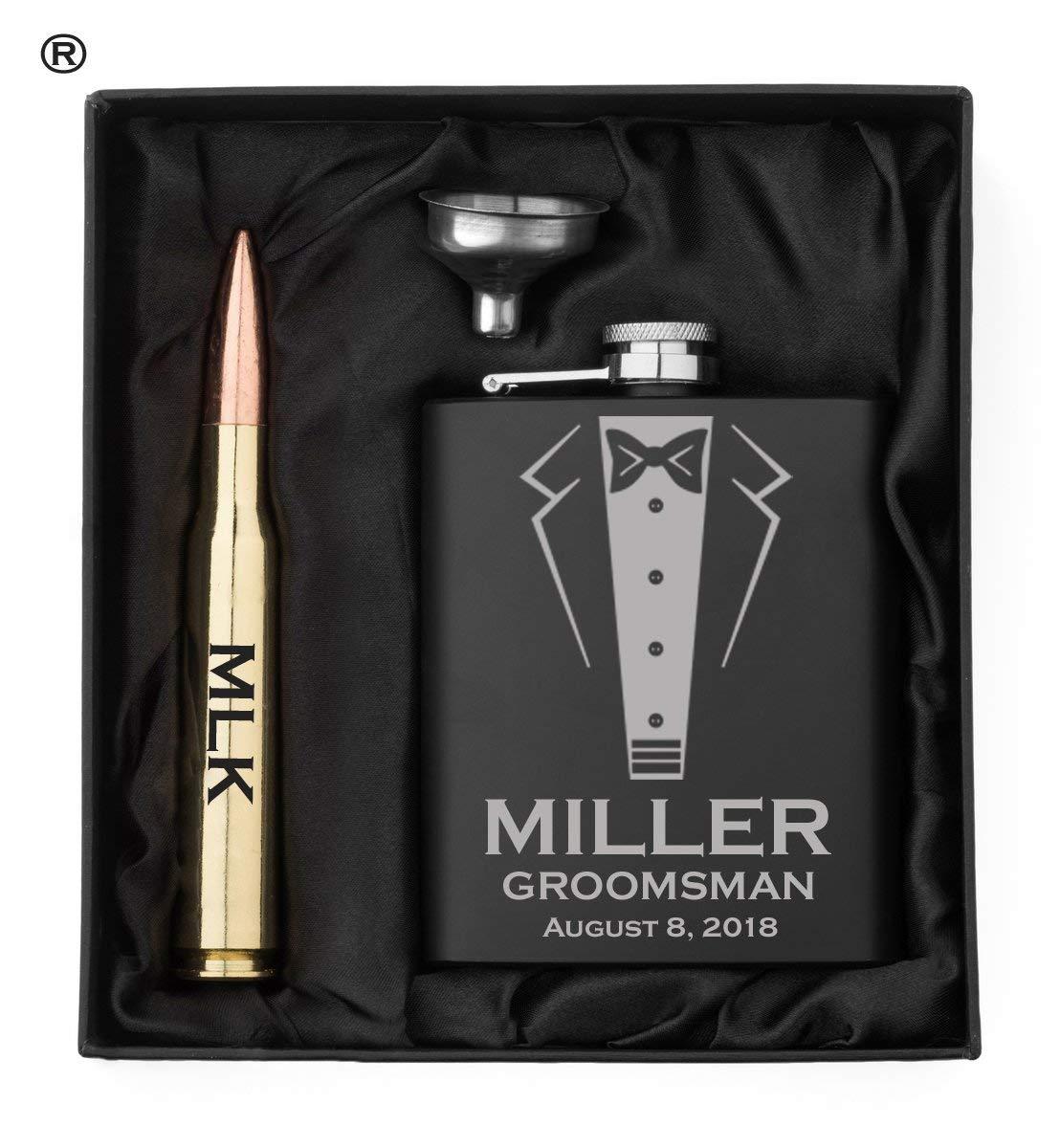 Engraved Matte Black Hip Flask, Funnel and Brass 50 Caliber Bullet Bottle Opener Wedding Tuxedo Gift Box 50 Cal Custom Personalized
