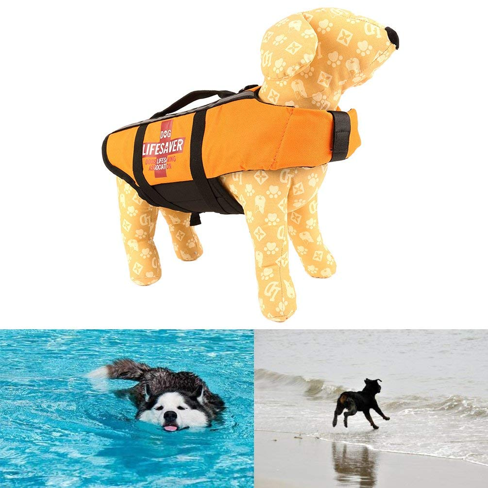 Petacc Dog Life Jacket Dog Floatation Vest Dogs Swimming Vests Pet Safety Vest for Dogs within 8.8lb, Saffron Yellow