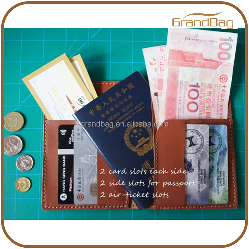 RFID protection men leather simple passport covers passport holder mobile phone case with card and air ticket slots