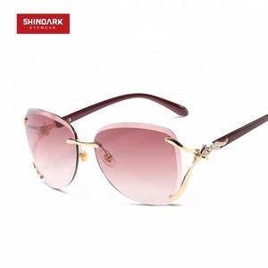 Rimless metal fox diamonds decorate lady women fashion sunglasses 2018