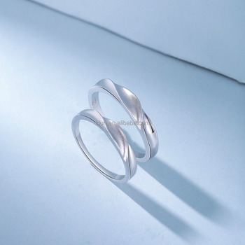 6d3393459a 925 Sterling Silver Brushed Plain Simple Twisted Couple Ring - Buy ...