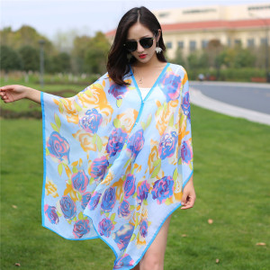 Summer beautiful printed long size chiffon silk scarf magic beach towel wholesale lady girl chiffon shawl