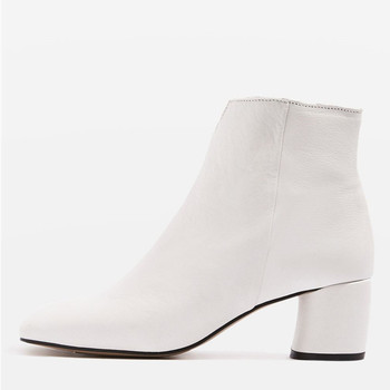 51d4e33d3e23a Ladies Classic Flat Boot Cow leather white cut out zip up ankle boots for  women