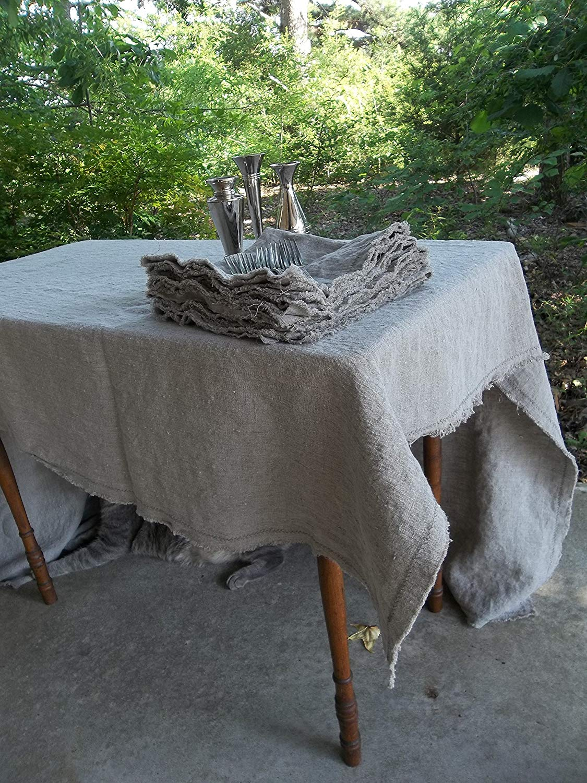 Frayed Edge Linen Tablecloth Custom Sizes and Fabrics   Classic Linen Table Cloth