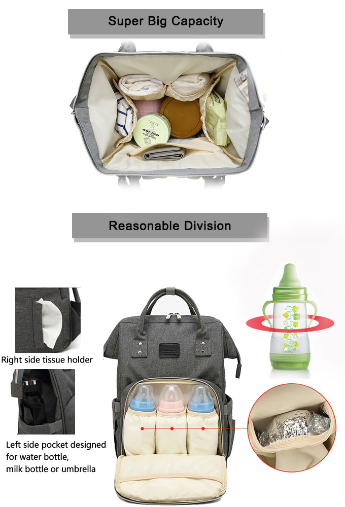 Large capacity diaper organizer diaper bag backpack with stroller straps baby diaper wholesale