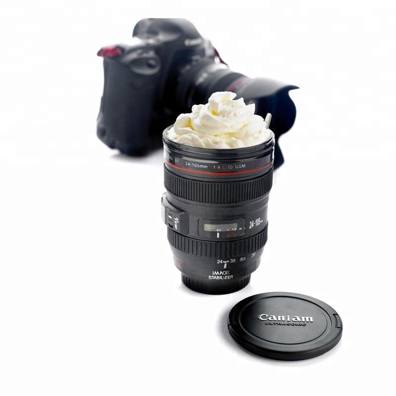 Promosyon özel Logo 480ML plastik seyahat çay bardağı bardak Taza kahve kamera lensi kupa