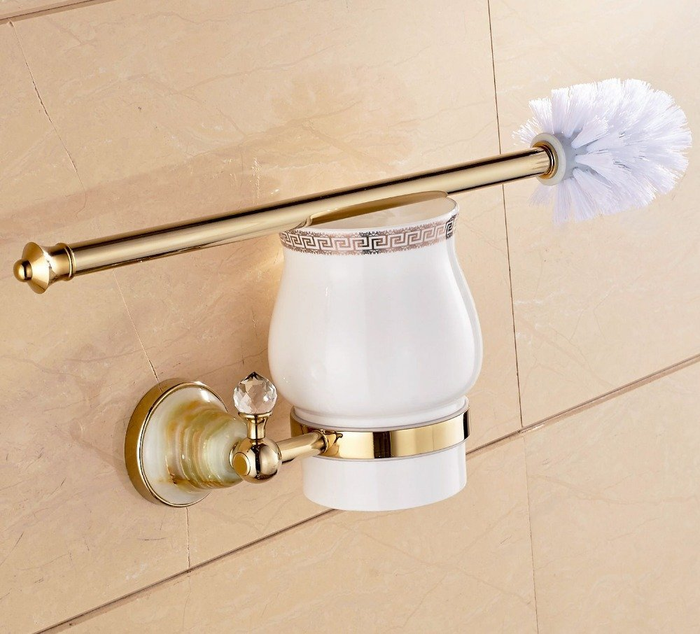 ZWBD Wall Mounted Golden Finish Toilet Paper Holder Jade Brass Bath Brush+Holder+Cup,Brass
