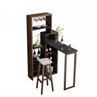 Stylish wine storage home furniture cabinet black wooden foldable mini bar table set