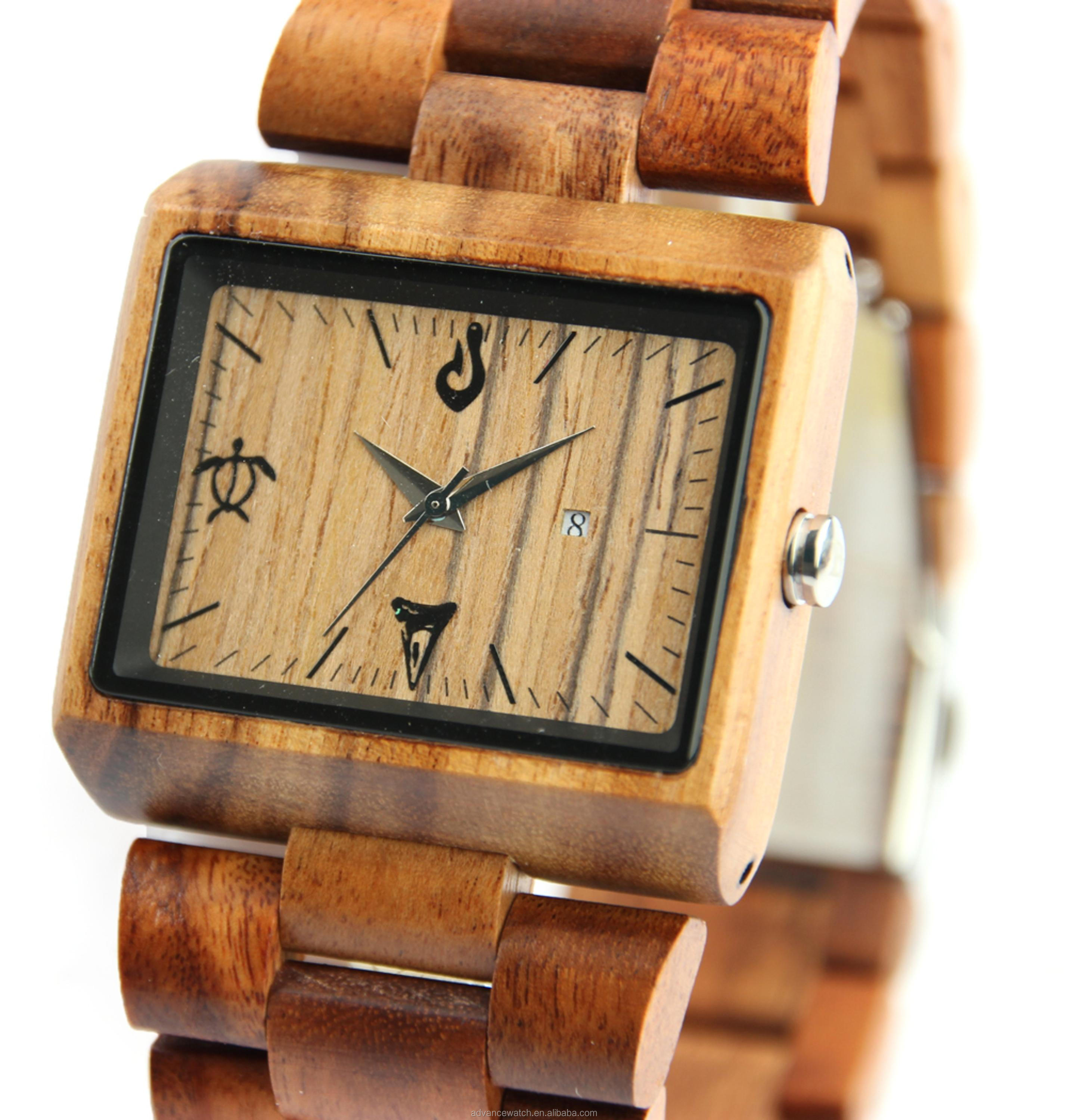 Wholesale square shape all wood watches with wood band and wood veneer face watch