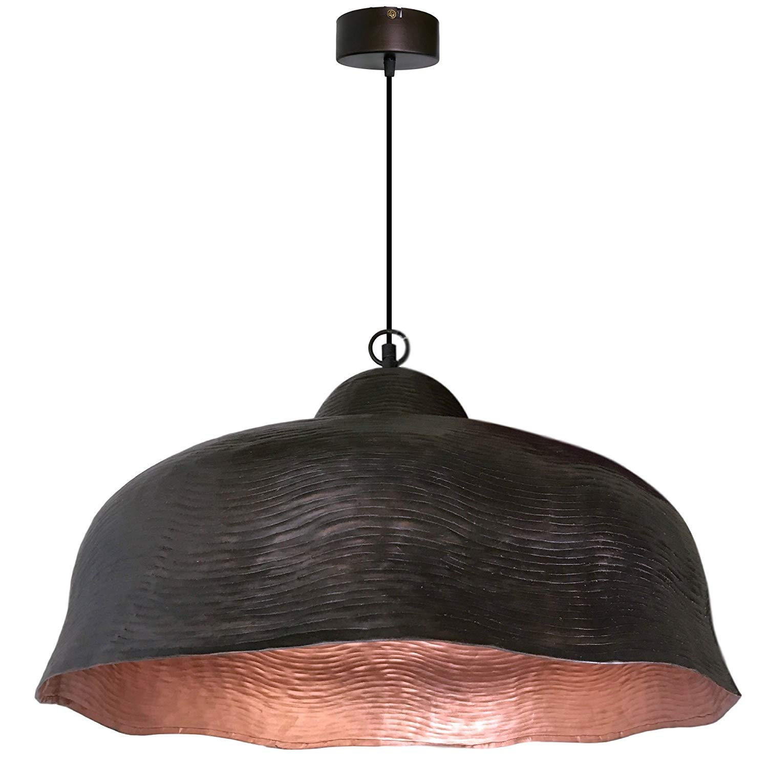 """1-Light Dark Antique Brown & Cooper Wave Hanging Pendant Ceiling Fixture 
