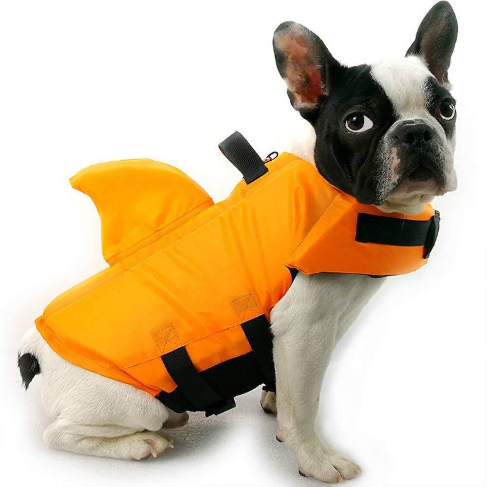 Chicdog Reflective Dog LIfe Jacket Vest Float Coat Vests for Swimming Dog Floatation Vest For Small Medium Large Dogs Pet Swimsuit Shark Fin Dog Swimsuit Professional Life Jacket