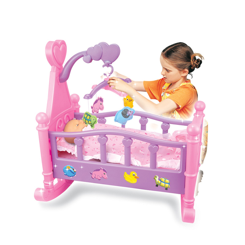 Amazon hot selling CE approved baby doll bed toy with doll